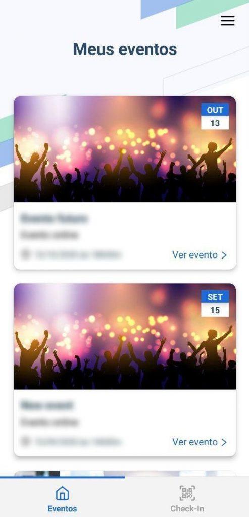 lista de eventos aplicativo