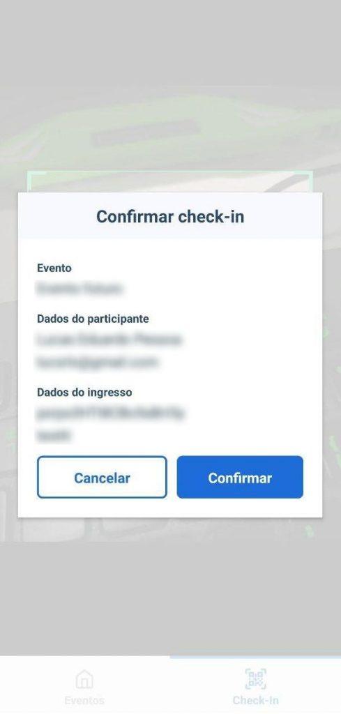 confirmação de check-in via aplicativo